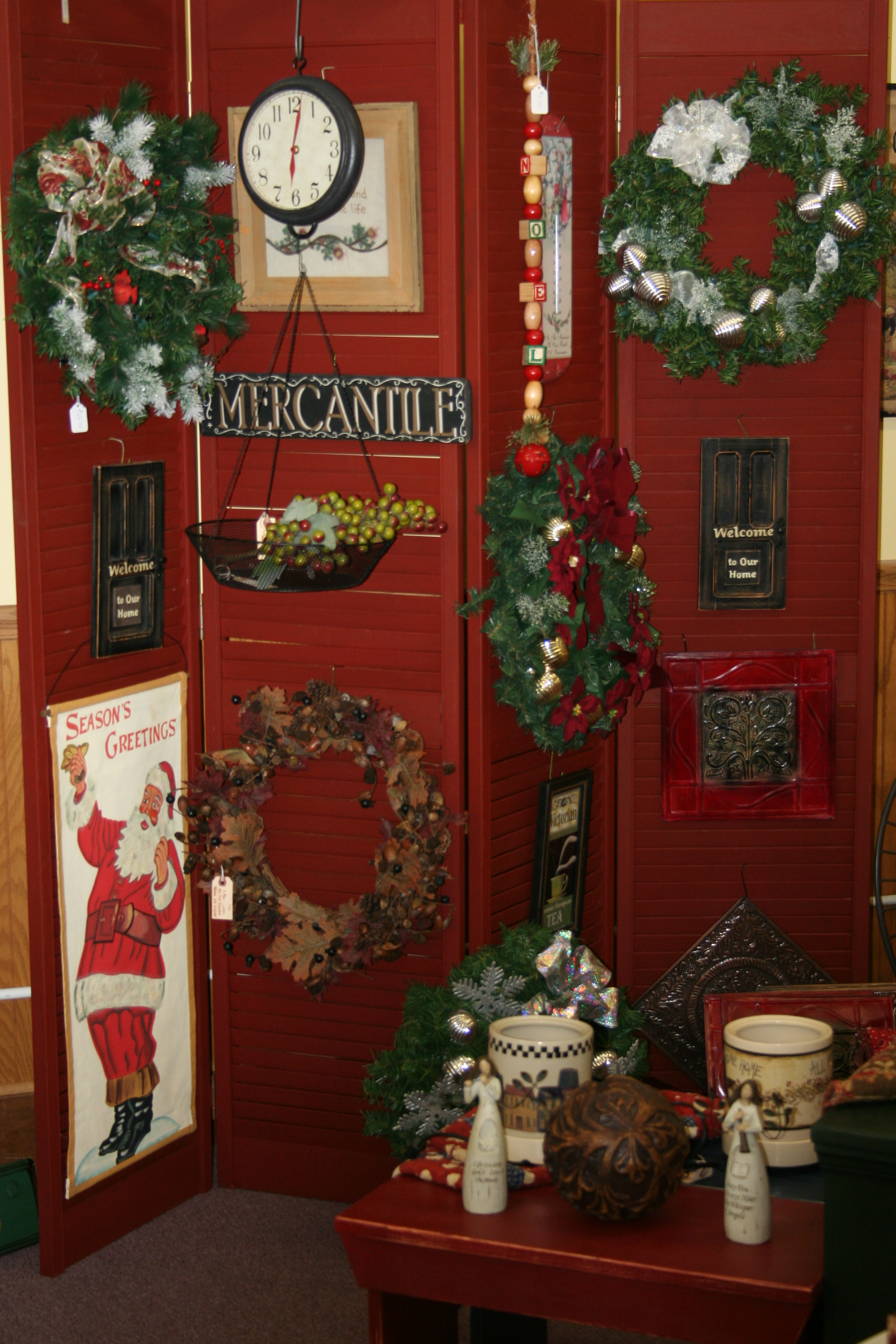 A display of Christmas items at Effie's Attic & Tea Room.